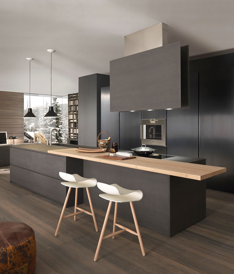 Modello di cucina nera di design n.10