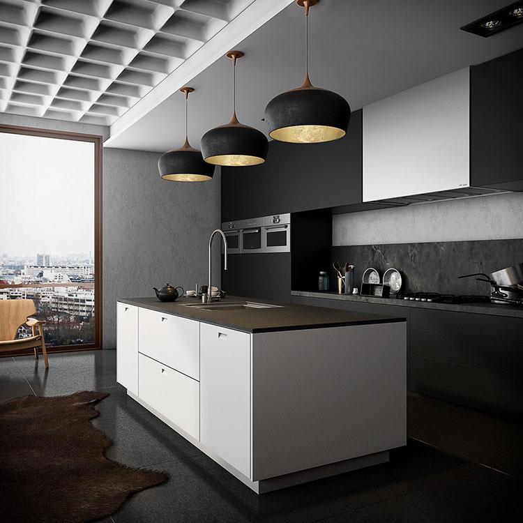 Modello di cucina nera di design n.11