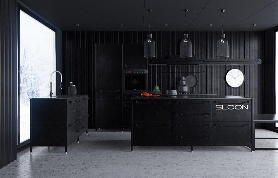 Modello di cucina nera di design n.16