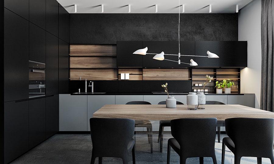 Modello di cucina nera di design n.17