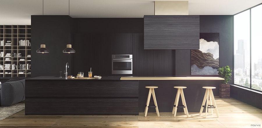 Modello di cucina nera di design n.19