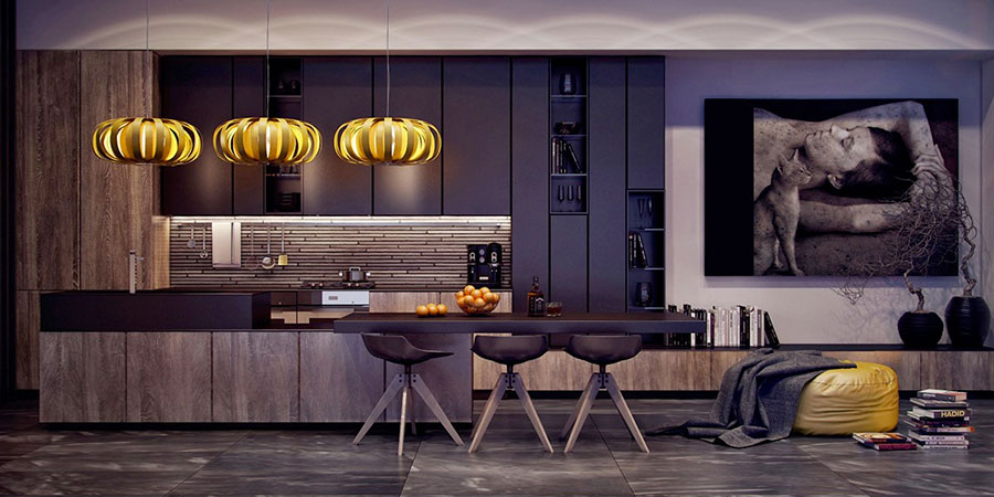 Modello di cucina nera di design n.21