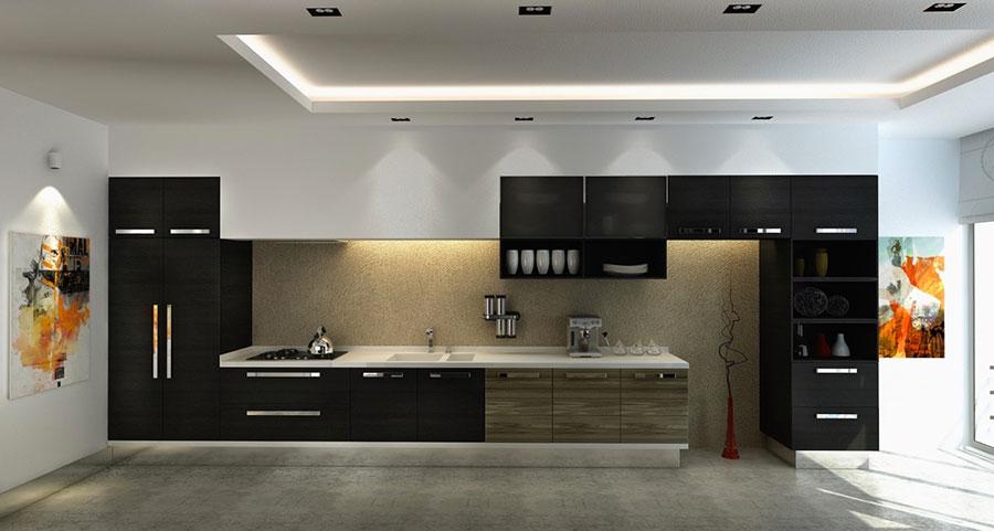 Modello di cucina nera di design n.24