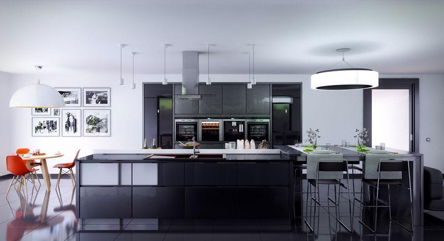 Modello di cucina nera di design n.25