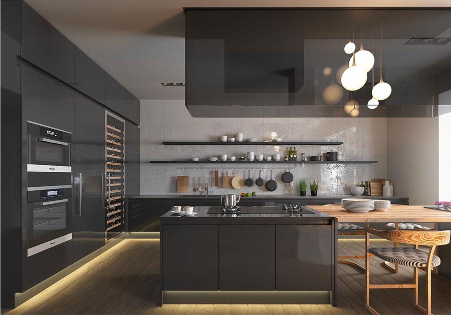Modello di cucina nera di design n.29