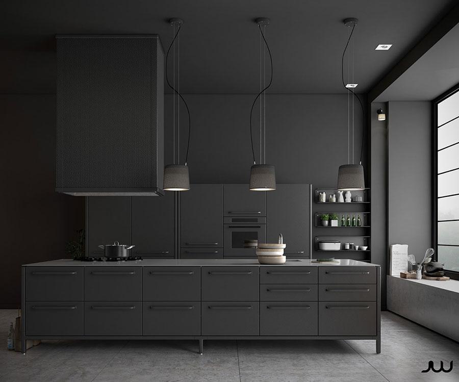 Modello di cucina nera di design n.30