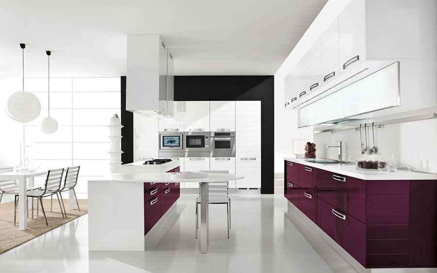 Modello di cucina viola n.07