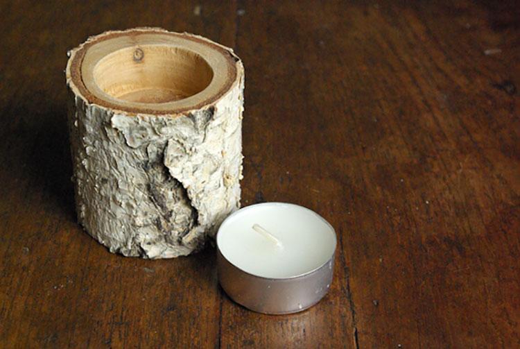 Modello di portacandele in legno fai da te n.01