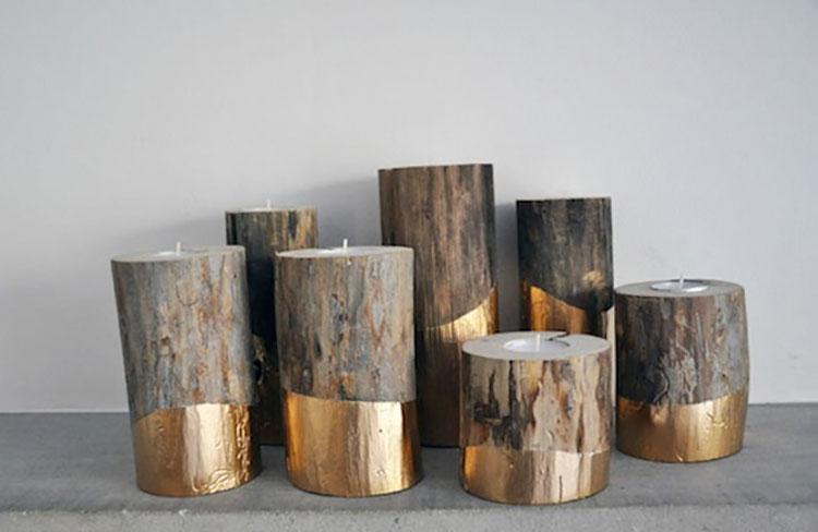 Modello di portacandele in legno fai da te n.02