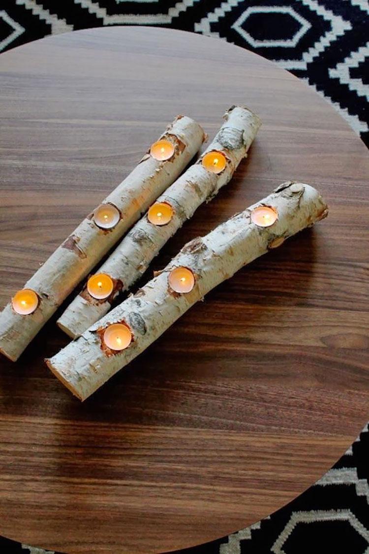Modello di portacandele in legno fai da te n.03