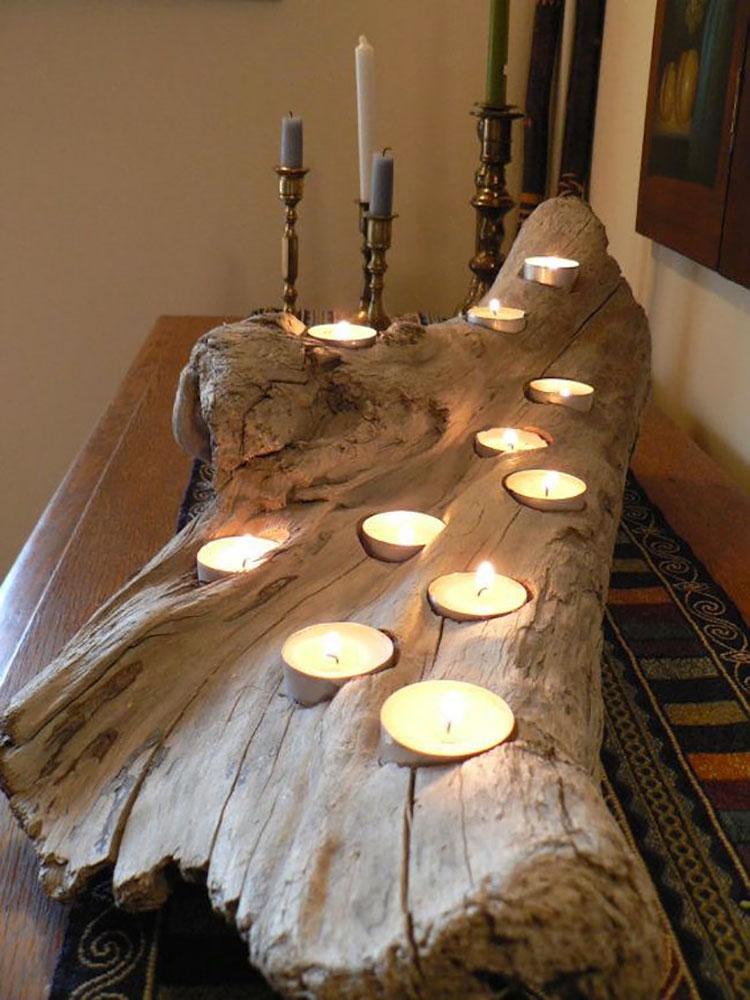 Modello di portacandele in legno fai da te n.04
