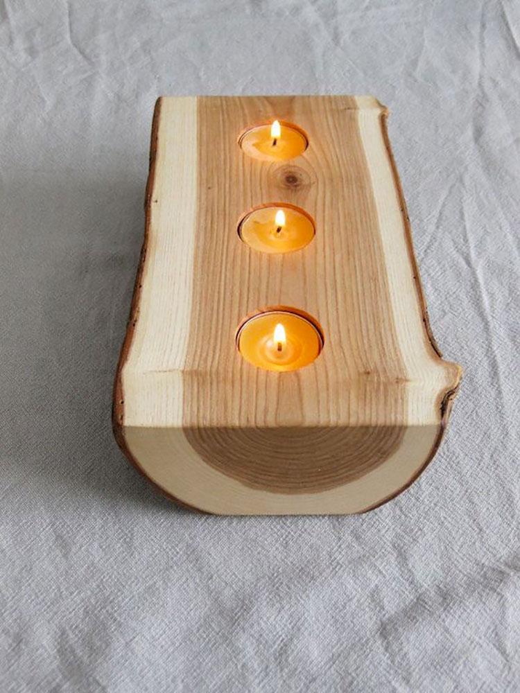 Modello di portacandele in legno fai da te n.07
