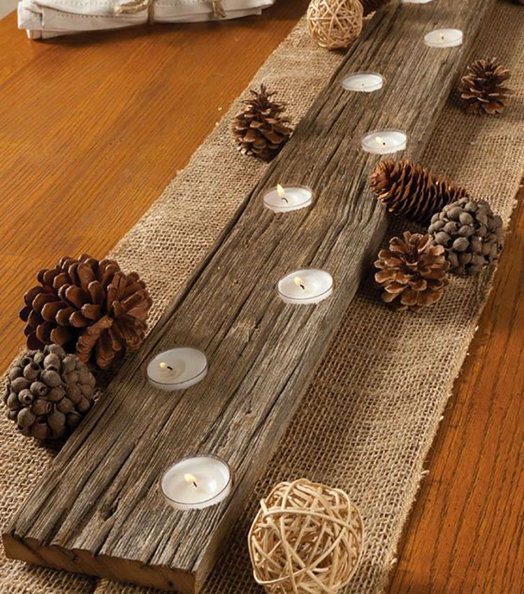 Modello di portacandele in legno fai da te n.11