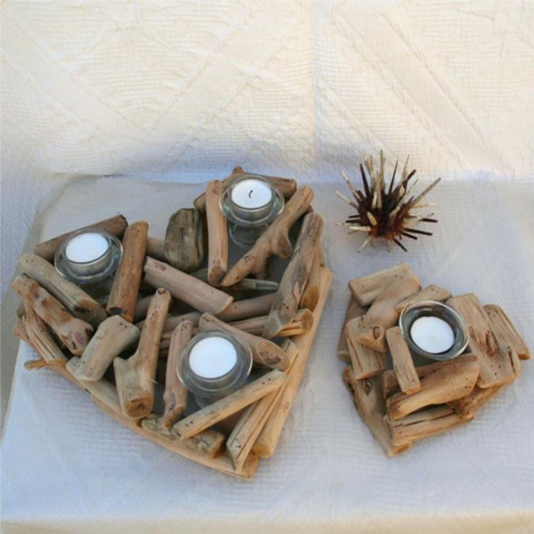 Modello di portacandele in legno fai da te n.12