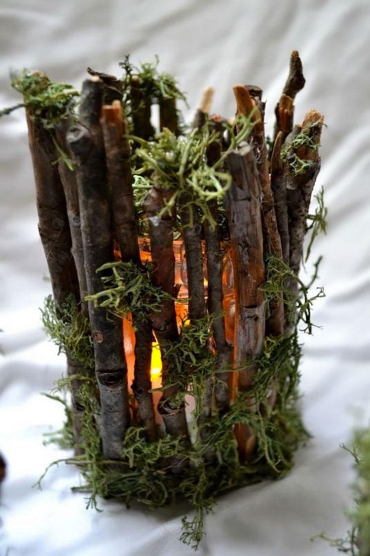 Modello di portacandele in legno fai da te n.14