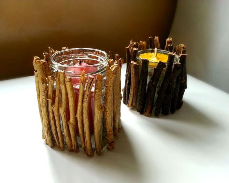 Modello di portacandele in legno fai da te n.15