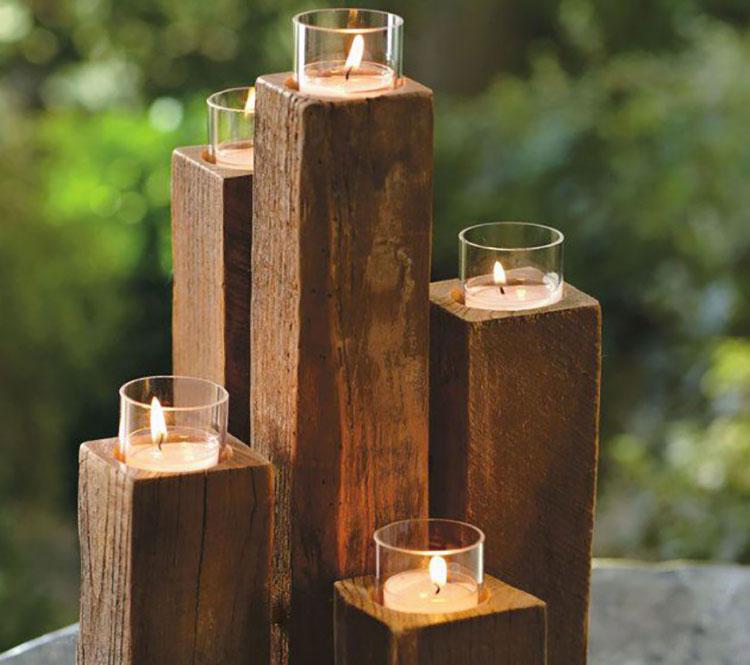 Modello di portacandele in legno fai da te n.16