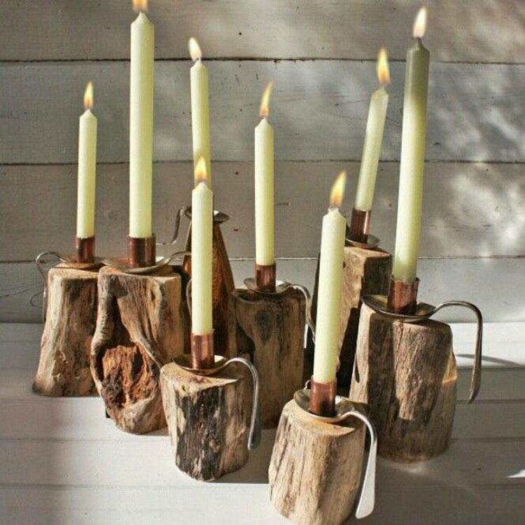 Modello di portacandele in legno fai da te n.17