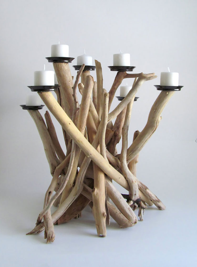 Modello di portacandele in legno fai da te n.18