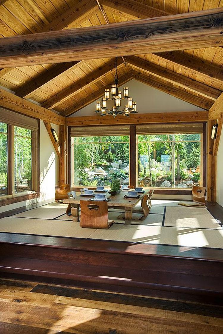 Sala da pranzo arredata in stile giapponese n.03