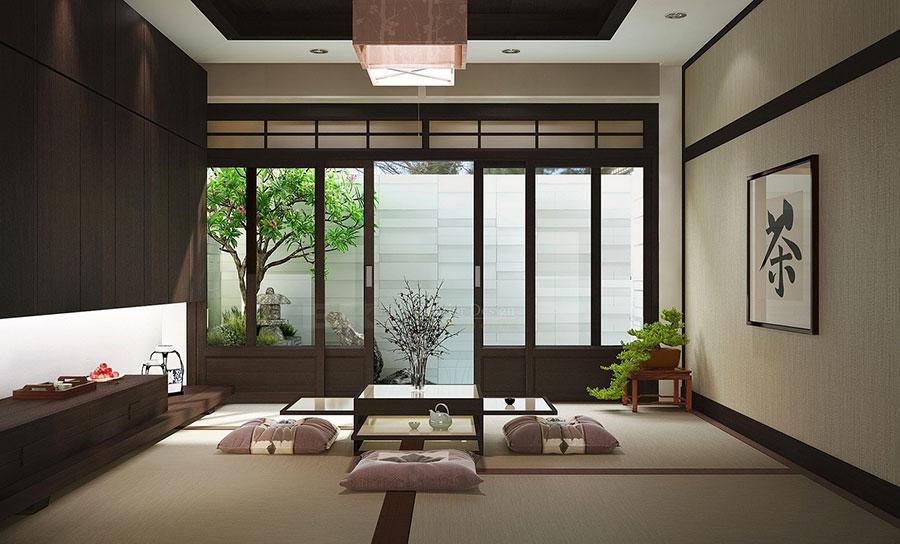 Salotto arredato in stile giapponese n.01