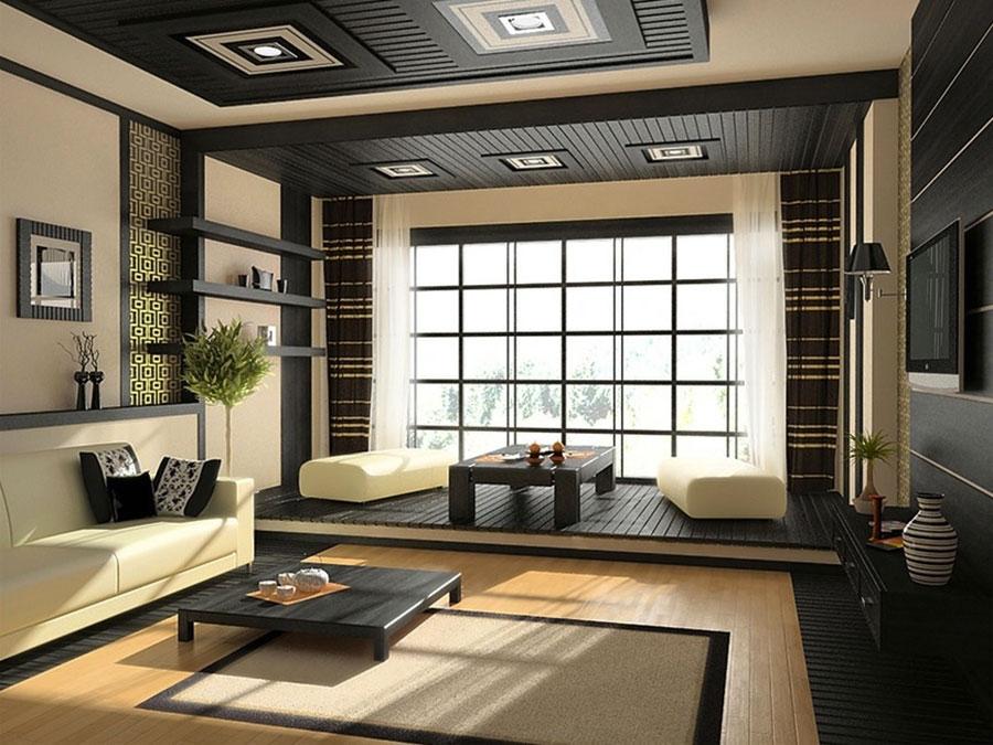 Salotto arredato in stile giapponese n.02