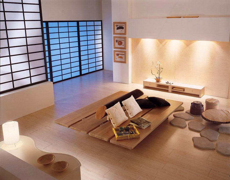 Salotto arredato in stile giapponese n.03
