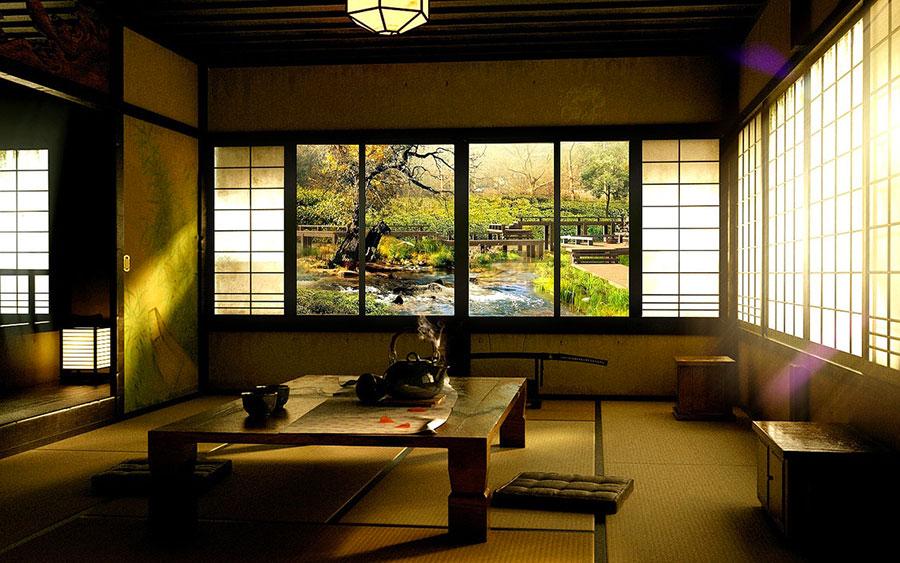 Salotto arredato in stile giapponese n.07