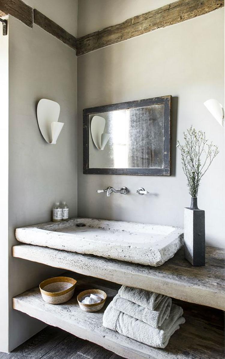 Idee per arredare un bagno con lavabo in pietra n.01