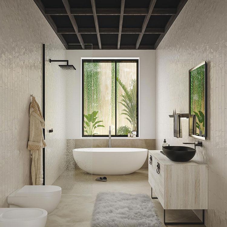 Idee per arredare un bagno con lavabo in pietra n.03