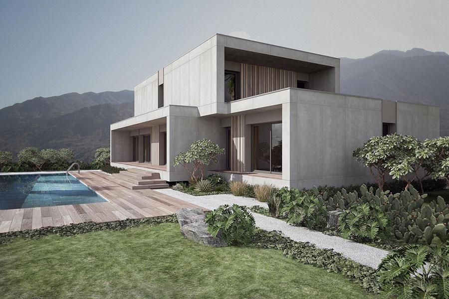 Progetto di casa prefabbrica in legno dal design moderno n.16
