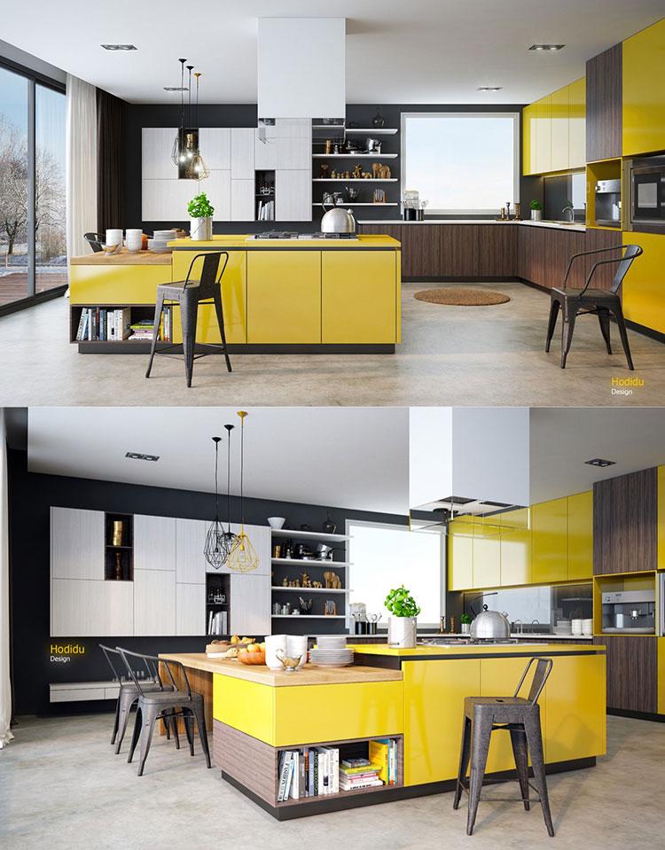 Cucina gialla dal design moderno n.06