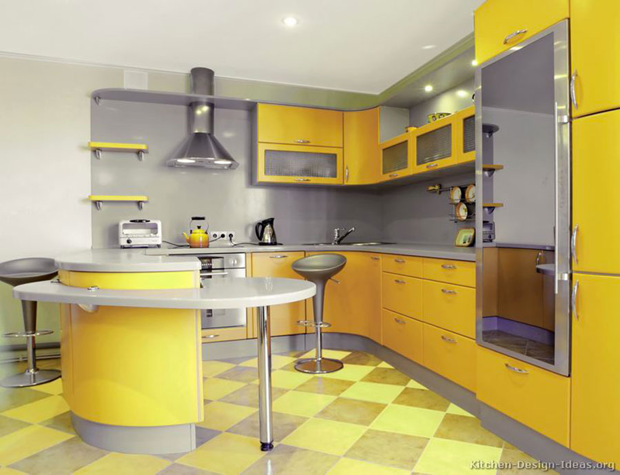 Cucina gialla dal design moderno n.11