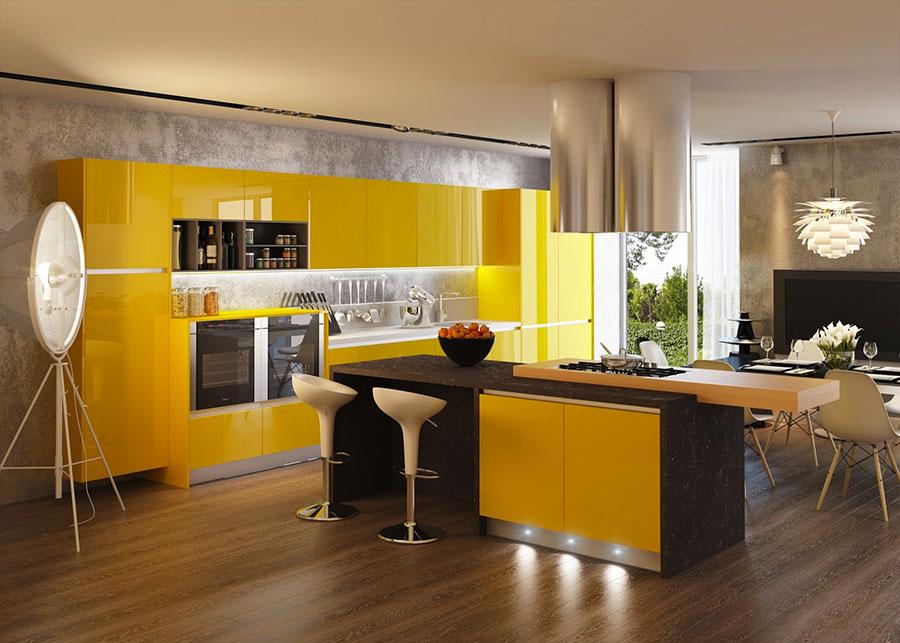 Cucina gialla dal design moderno n.12