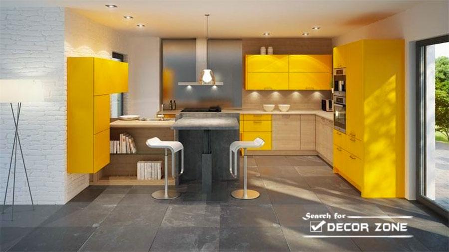 Cucina gialla dal design moderno n.14