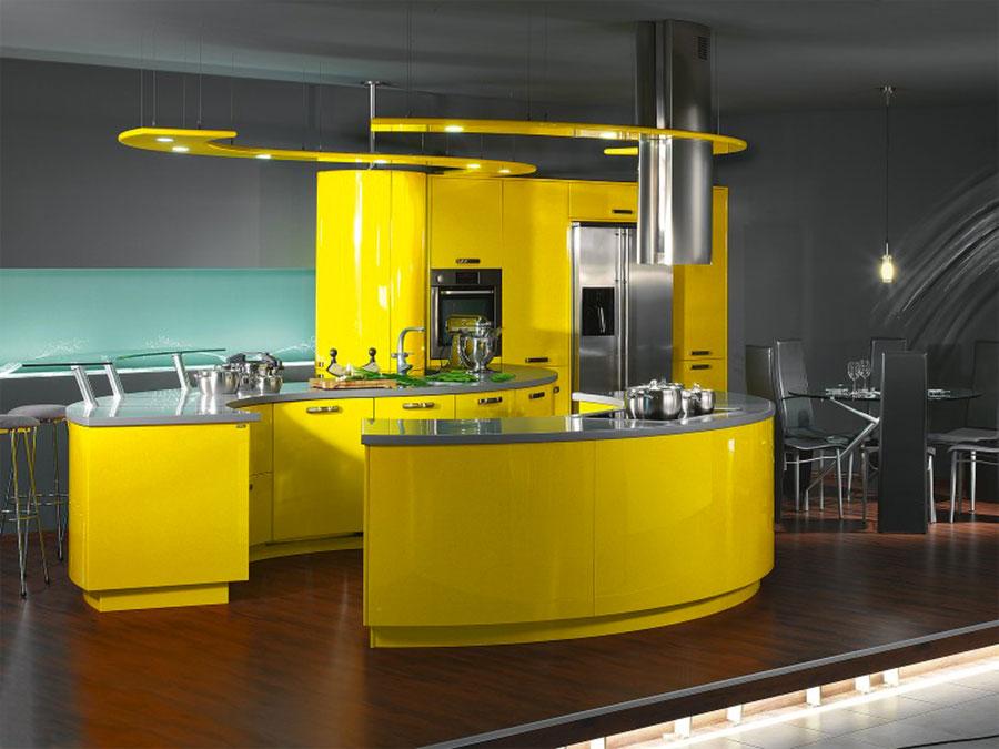 Cucina gialla dal design moderno n.15