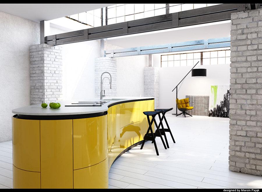Cucina gialla dal design moderno n.16