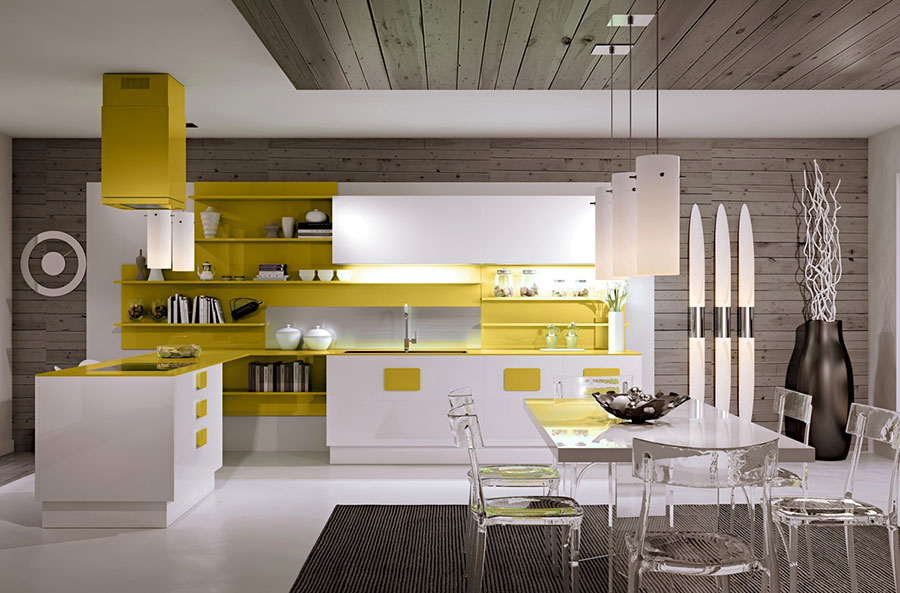 Cucina gialla dal design moderno n.18