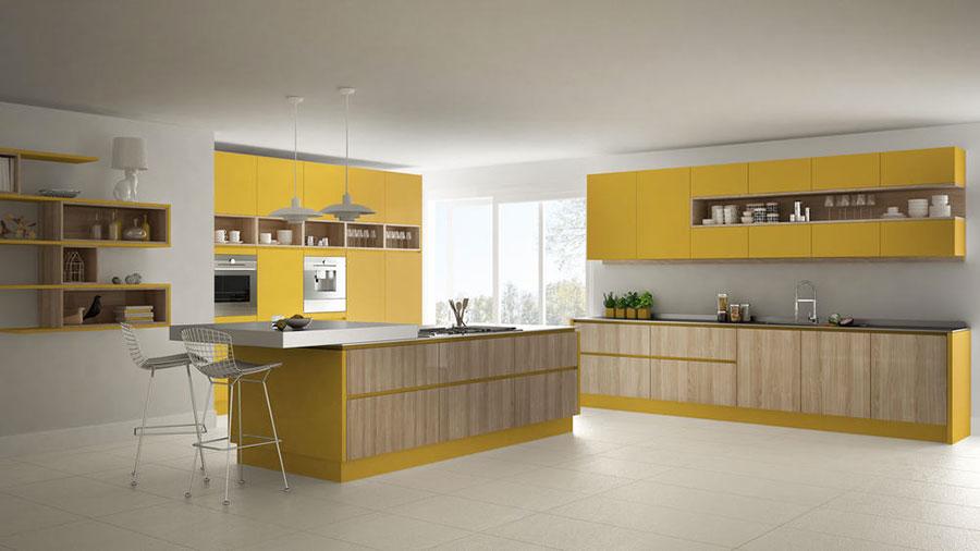 Modello di cucina gialla e legno