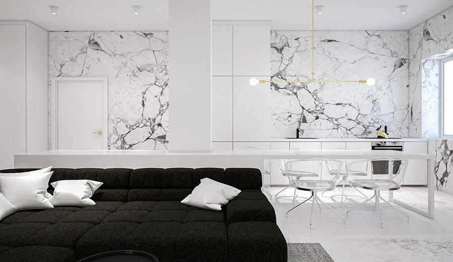 Modello di cucina con top, piani e rivestimenti in marmo n.03