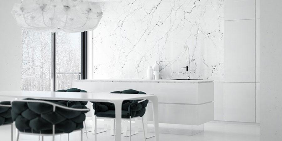 Modello di cucina con top, piani e rivestimenti in marmo n.04