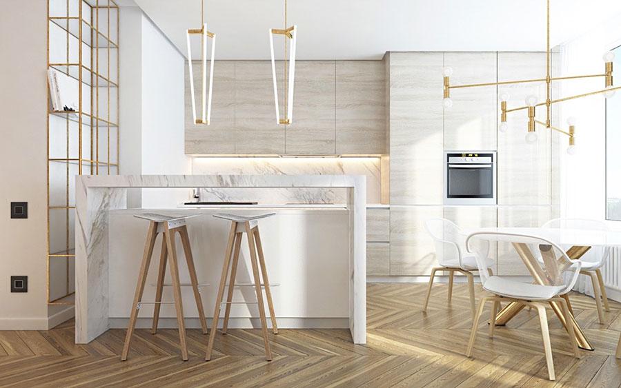 Modello di cucina con top, piani e rivestimenti in marmo n.05