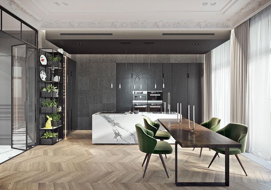 Modello di cucina con top, piani e rivestimenti in marmo n.06