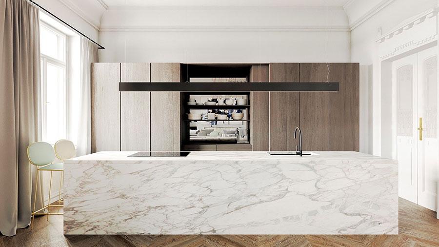 Modello di cucina con top, piani e rivestimenti in marmo n.07