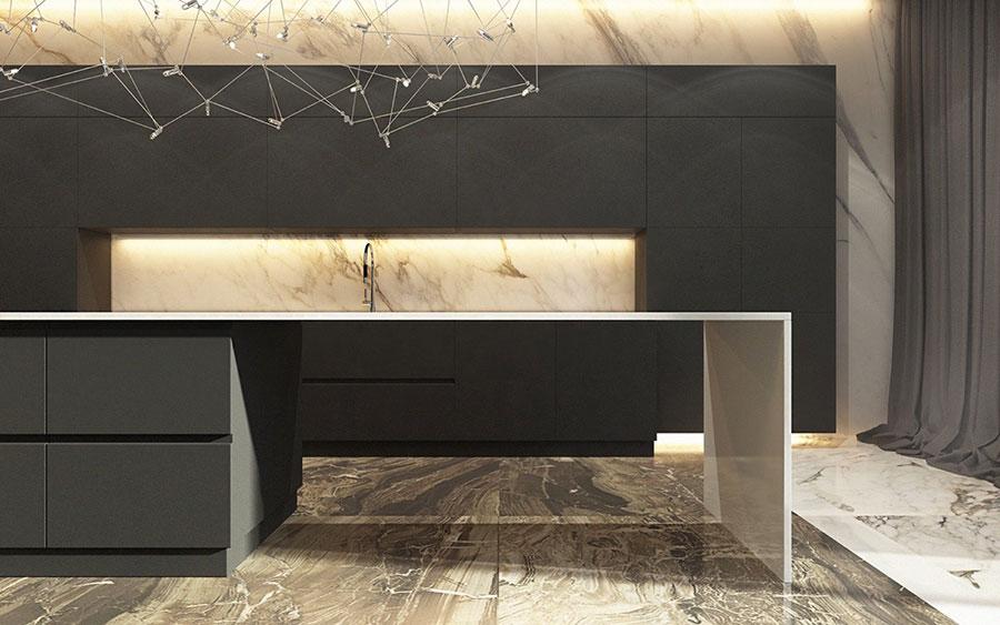 Modello di cucina con top, piani e rivestimenti in marmo n.09