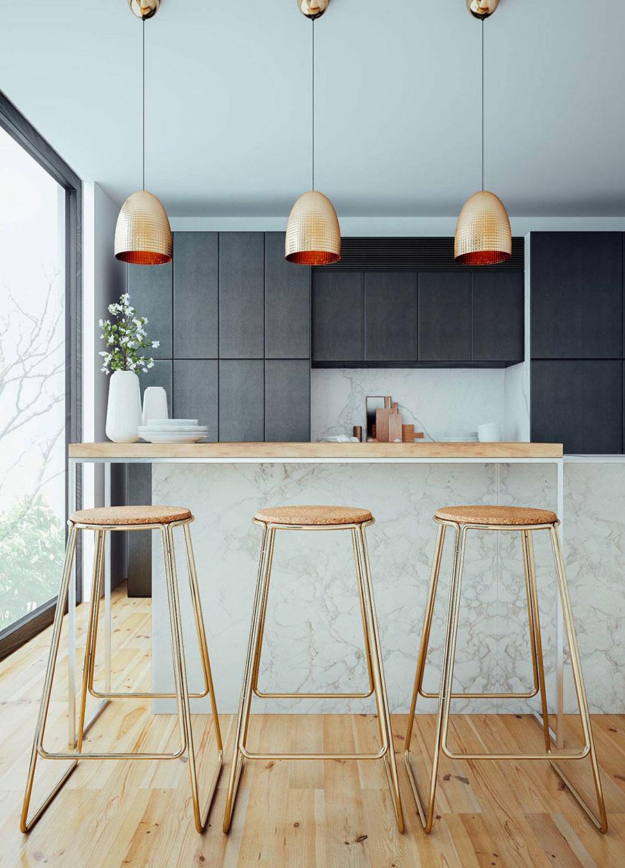 Modello di cucina con top, piani e rivestimenti in marmo n.15