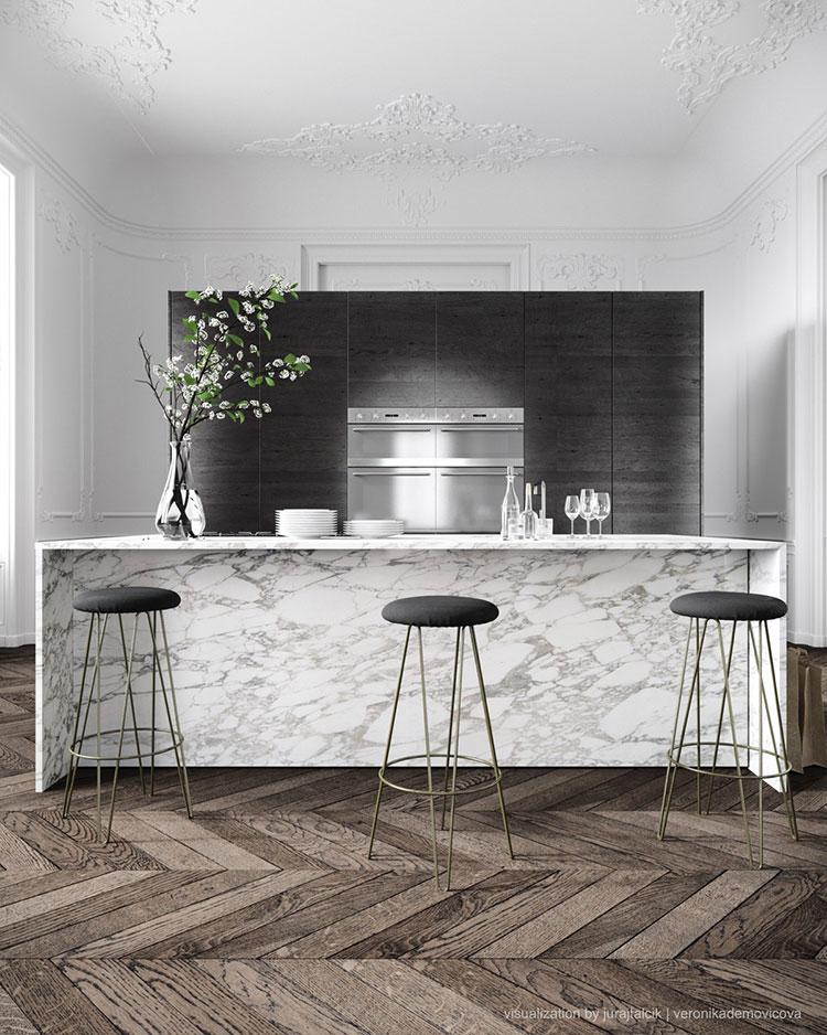 Modello di cucina con top, piani e rivestimenti in marmo n.16