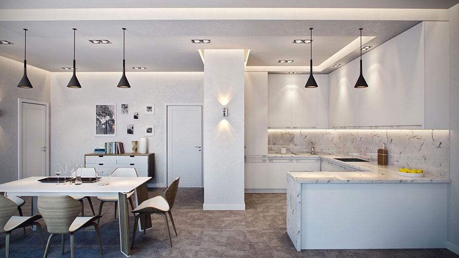 Modello di cucina con top, piani e rivestimenti in marmo n.23
