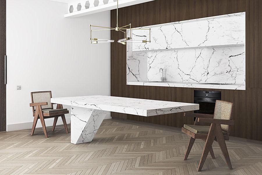 Modello di cucina con top, piani e rivestimenti in marmo n.25