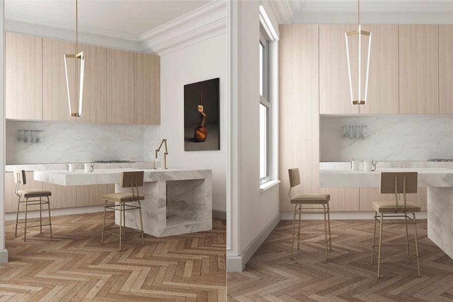 Modello di cucina con top, piani e rivestimenti in marmo n.26